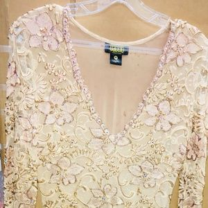 Baccio Couture Champagne Color Hand Painted Dress